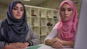 Twee hijab Arabische vrouwen zitten bij Desktop samen en bekijken laptop met het richten van hand op het, die vibes woking stock footage