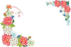 Twee hoeken met rode rozen Stock Afbeelding