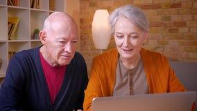 Twee hogere grijs-haired Kaukasische collega's die in videochat op laptop spreken die blij en vriendschappelijk in bureau zijn stock video