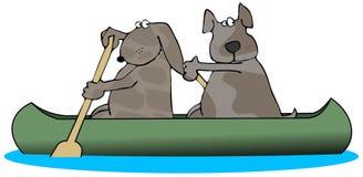 Twee Honden in een Kano royalty-vrije illustratie