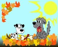 Twee honden en een de herfstlandschap Royalty-vrije Stock Foto's