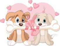Twee honden van de Valentijnskaart Stock Afbeeldingen