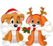 Twee honden van Kerstmis Stock Afbeeldingen