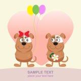 Twee hondenliefde De kaart van de groet Stock Illustratie