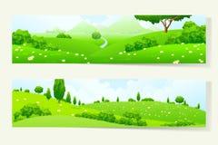 Twee Horizontale Banners met Aardlandschap royalty-vrije illustratie
