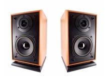 Twee houten luide sprekers Stock Foto
