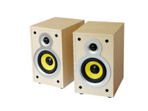 Twee houten sprekers Stock Afbeelding