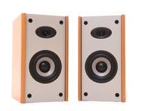 Twee houten sprekers stock foto