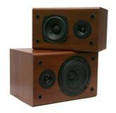 Twee houten sprekers Royalty-vrije Stock Afbeeldingen