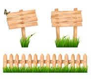 Twee houten tekens en een omheining met gras. vector illustratie