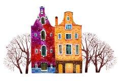Twee huizen van Europa van de waterverf oude steen De gebouwen van Amsterdam met bomen Hand getrokken beeldverhaalillustratie royalty-vrije illustratie