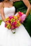 Twee huwelijksboeketten Stock Fotografie