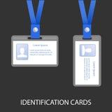 Twee Identiteitskaart op een blauw koord Stock Foto