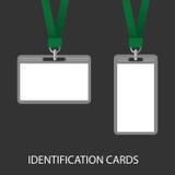 Twee Identiteitskaart op een groen koord Royalty-vrije Stock Foto's