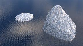 Twee ijsbergen van hierboven Stock Foto