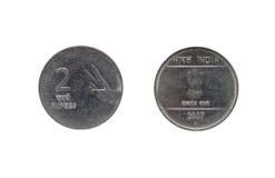 Twee Indisch Roepiemuntstuk Stock Foto