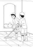 Twee Indonesische moslims maken moskee schoon Stock Afbeelding