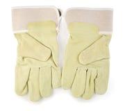 Twee industial handschoenen die op witte achtergrond worden geïsoleerdw stock foto's
