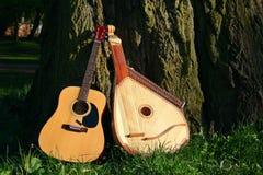 Twee instrumets dichtbij boom Royalty-vrije Stock Foto