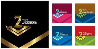 Twee jaar verjaardags gouden het ontwerp van het verjaardagsmalplaatje voor Web, spel, Creatieve affiche, boekje, pamflet, vliege royalty-vrije illustratie