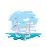 Twee jachten die op oceaangolven rennen - illustratie Royalty-vrije Stock Foto