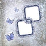 Twee jeansframes met kant en batterfly Stock Fotografie