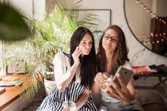 Twee jeugdige glimlachende mooie slanke meisjes met lang donker haar, die vrijetijdskleding dragen, zitten naast elkaar en nemen  stock afbeelding