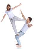 Twee jonge acrobaten. Stock Afbeelding