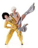 Twee jonge acrobaten. Stock Foto's