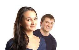 Twee jonge bedrijfs en mensen die spreken bespreken royalty-vrije stock foto