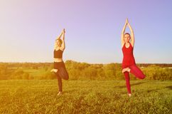 Twee jonge blonde meisjes in sporten past praktijkyoga op een schilderachtige groene heuvel aan royalty-vrije stock afbeelding