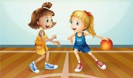 Twee jonge dames die basketbal spelen vector illustratie
