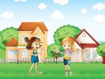 Twee jonge dames die in de grond voor de huizen spelen stock illustratie