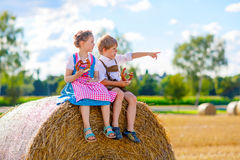 Twee jonge geitjes, jongen en meisje in traditionele Beierse kostuums op tarwegebied Royalty-vrije Stock Afbeeldingen