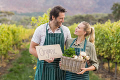 Twee jonge gelukkige landbouwers die een teken en een mand van groenten houden royalty-vrije stock afbeeldingen
