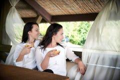 Twee jonge gelukkige meisjes met glazen wijn Royalty-vrije Stock Afbeeldingen