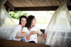 Twee jonge gelukkige meisjes met glazen wijn Stock Foto