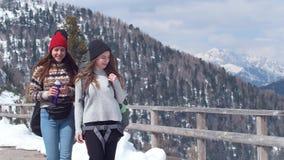 Twee jonge gelukkige vrouwentoerist die in Dolomiet met groot rugzak en gitaar drinkwater reizen stock footage