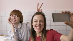 Twee jonge Kaukasische mooie meisjes zitten in een koffie en selfie, lachen, glimlachen, maken grappige gezichten Meisjes, vriend stock videobeelden