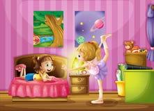 Twee jonge meisjes binnen een slaapkamer vector illustratie