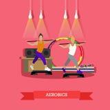 Twee jonge meisjes die aerobics doen onder muziek in geschiktheidsstudio Rond sportuitrusting, voer platform, matten, band op stock illustratie