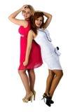 Twee jonge meisjes die pret hebben Stock Foto