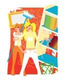 Twee jonge meisjes maken schoon vector illustratie