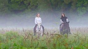 Twee jonge meisjes op horseback uit de mist, het spreken, het glimlachen stock footage