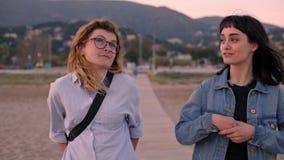 Twee jonge meisjesgang en bespreking op het strand stock videobeelden