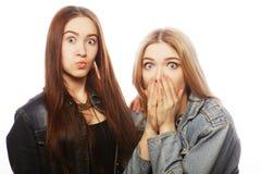 Twee jonge meisjesvrienden die pret hebben Stock Afbeelding