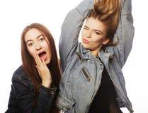 Twee jonge meisjesvrienden die pret hebben Royalty-vrije Stock Fotografie
