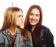 Twee jonge meisjesvrienden die pret hebben Stock Foto's