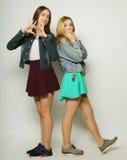 Twee jonge meisjesvrienden die pret hebben samen Stock Foto's