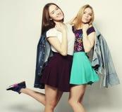 Twee jonge meisjesvrienden die pret hebben samen Royalty-vrije Stock Foto